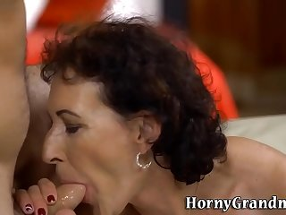 Pussy rubbed grown-up nipper gobbles load of shit