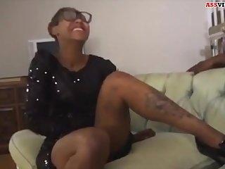 nerdy black teen girl alongside huge booty