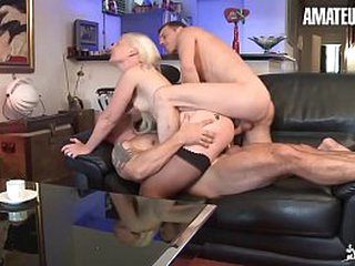 AMATEUR EURO - European Blondie Candys Gets Deep Drilled Wide of Two Dicks