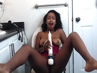 Petite Black Wholesale Squirts Pussy Juice Up the Astound coupled with Makes a Mess