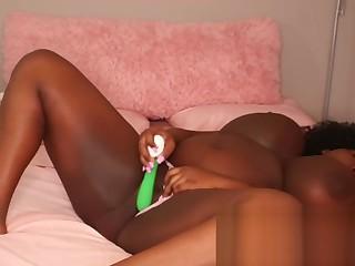 Black BBW Masturbates While Her Parents Are Home