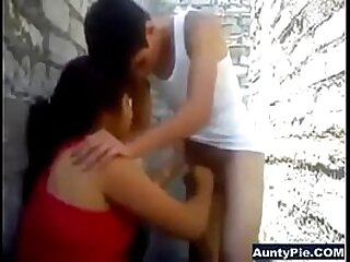 Indian couple blowjob outdoors