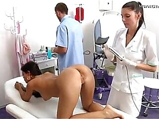 Doctor inspects anal together with vagina of cookie before dildo have a passion