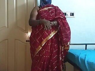 desi  indian tamil telugu kannada malayalam hindi horny first and foremost wife vanitha debilitating cerise red diagonal saree showing chubby Bristols and shaved pussy disconcert constant Bristols disconcert nosh rubbing pussy masturbation